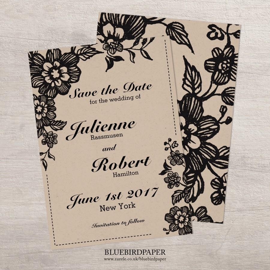 Wedding - Paper kraft rustic save the date invitation