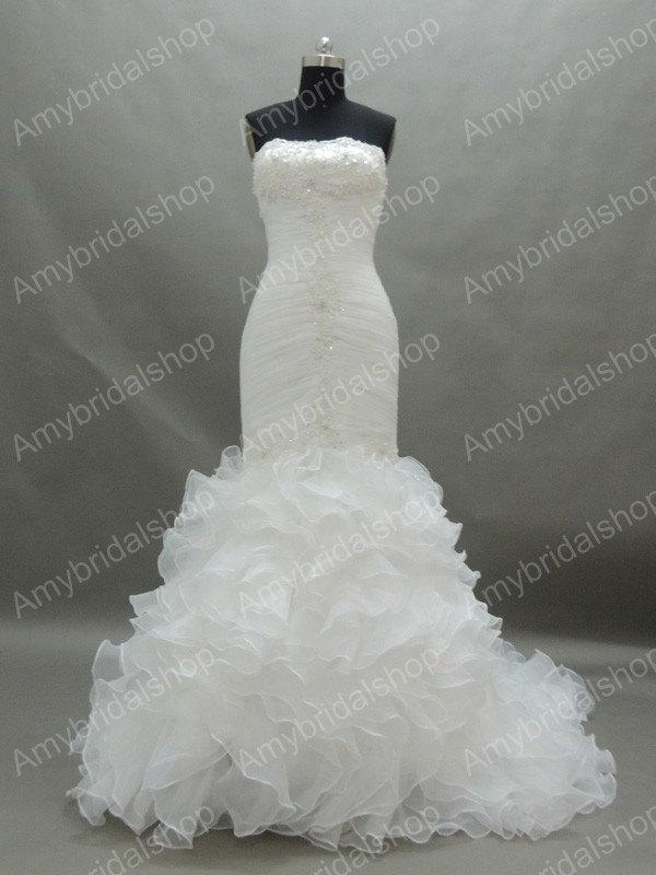 Mariage - Gorgeous Strapless White Organza Mermaid Wedding dresses bridal gowns, Inexpensive Good quality wedding gowns corset back,lace applique