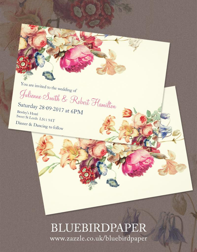 Wedding - Antique Garden a Floral  Vintage Wedding Invitations