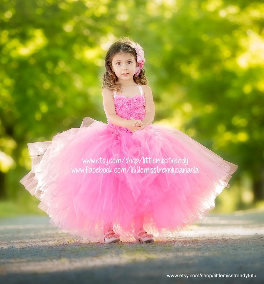 b6a7504f5149b Pink Couture Flower Girl Dress, Pink Tutu Dress, Couture Tutu Dress,  Couture Flower Girl Dress, Pink Couture Tutu Dress, Pink Pageant Dress