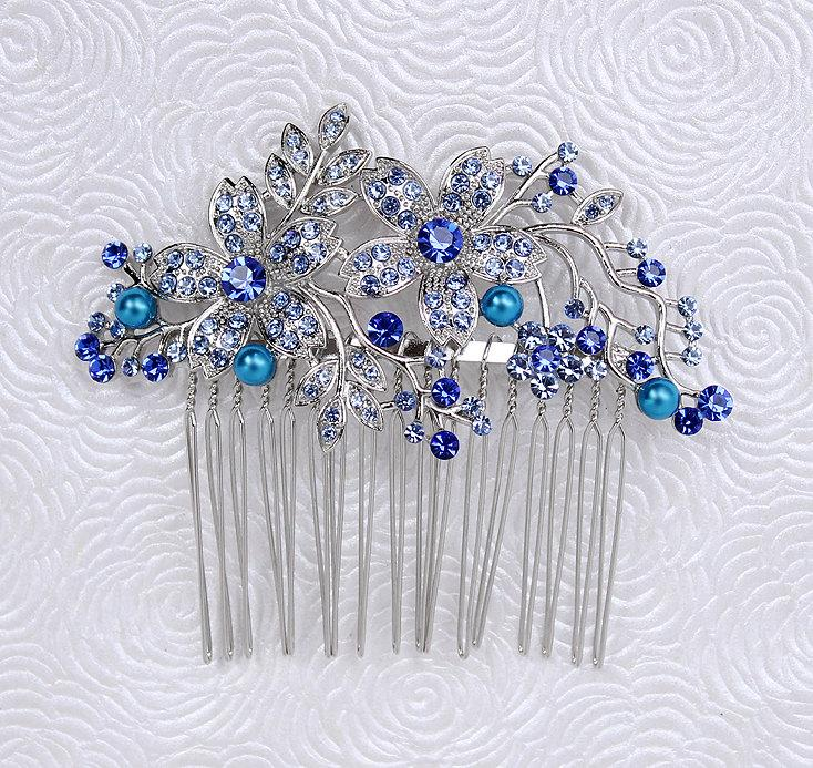 Mariage - Blue Hair Comb Bridal Bridesmaid Prom Crystal Pearl Hairpiece Royal Blue Wedding Rhinestone Combs Headpiece Jewelry Accessory