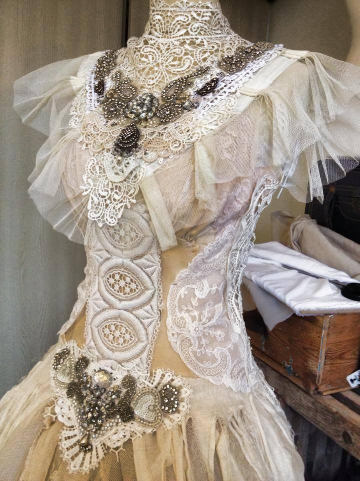 Custom Made Wedding Dress Vintage Inspired Antique Lace Handcrafted Paris Couture Victorian Bridal Gown Corset Laced