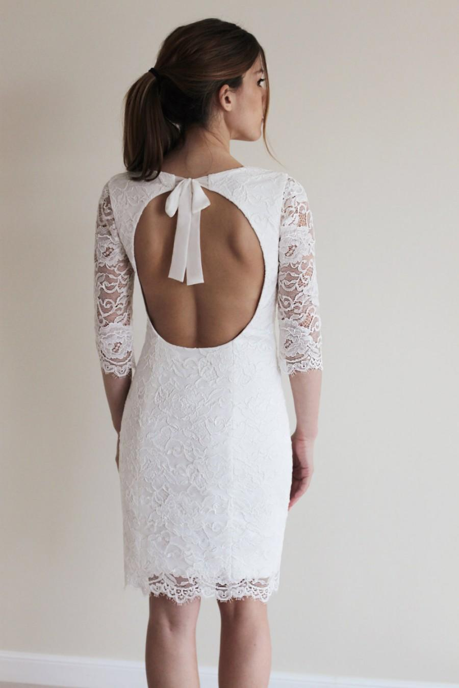 Wedding - Reception Dress, Short Wedding Dress with Open Back, Custom Made French Lace Dress