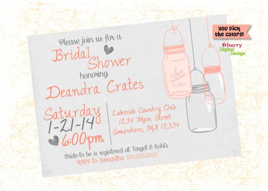 Wedding - Mason Jar Bridal Shower Party Custom Printable Invitation. Coral & Gray Wedding Shower Invitation. DIY Wedding Invite Digital.