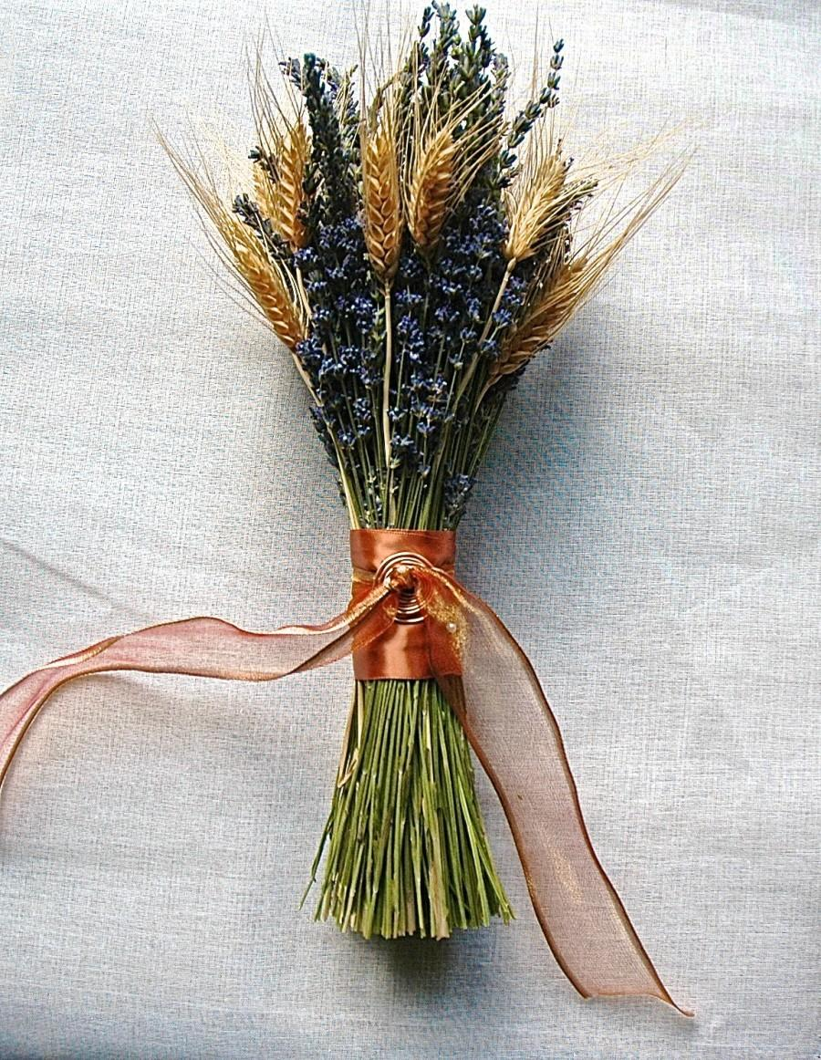 Mariage - Copper Wrapped Bridesmaid Bouquet of Lavender and Wheat
