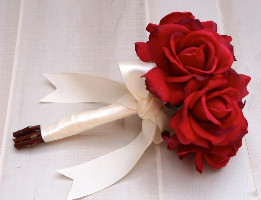 Choose Ribbon Color Real Touch Red Rose Bouquet Bridal Bridesmaid Flower Toss Wedding Flowers