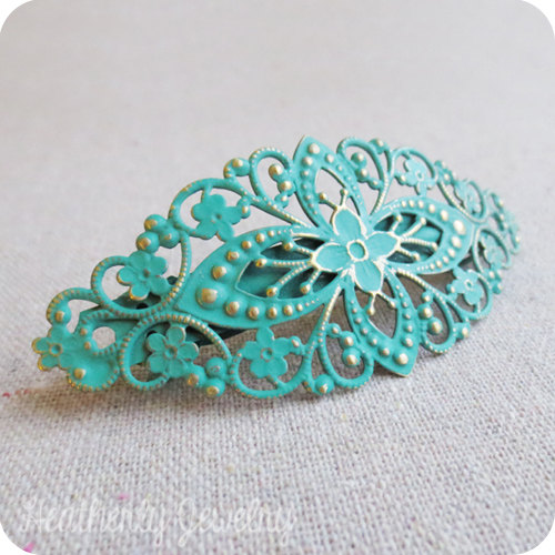 Свадьба - Verdigris Patinated French Barrette, Jungle Green Painted Brass, Turquoise Green Hair Clip, Floral Filigree Barrette, Boho Chic Hair Clips