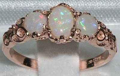 9K Rose Gold Genuine Colorful White Opal Ring English Victorian