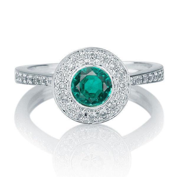 Bezel Set Ring Emerald Engagement Ring 14K White Gold Ring Halo