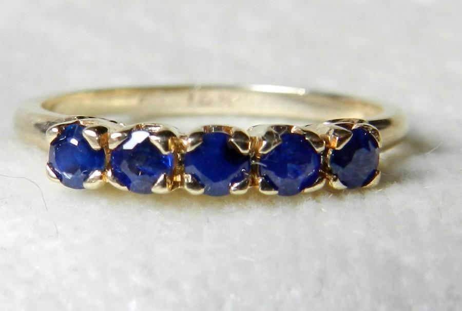 Wedding - Sapphire Wedding Band, 14K Natural .75 Ct Sapphire Half Eternity Ring Sapphire Stack Ring September Birthday Sapphire Stacking Ring