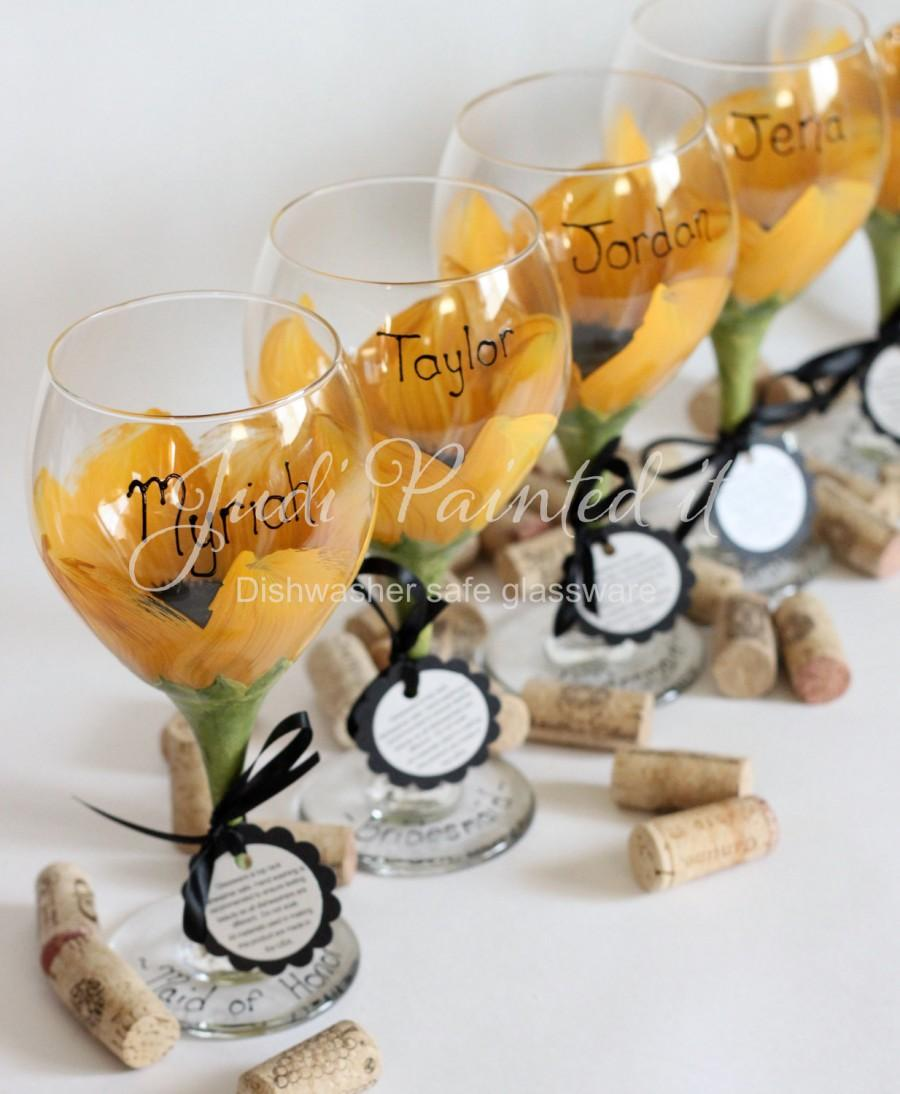 e8890f7e53e Bridesmaid hand painted wine glasses in a sunflower design. Set of 6 - FREE  personalization and dishwasher safe