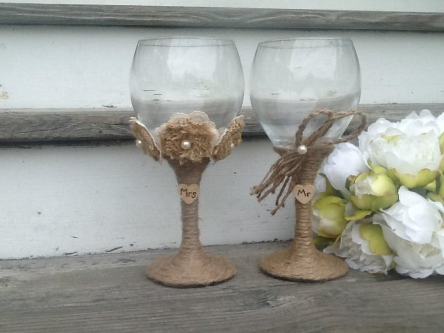 Large Rustic Wedding Gles Mr And Mrs Toasting Flutes Burlap Bride Groom