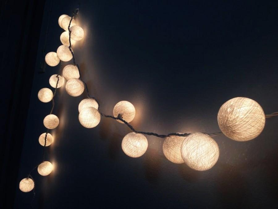 Snow White Cotton Ball String Lights For Patio,Wedding,Party And Decoration #2460462 - Weddbook