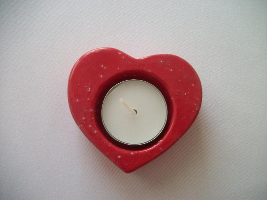 Red Heart Tea Light Candle Holder Wedding Decor Wedding Favors