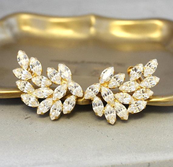 Boda - Ear Cuff Earrings,Bridal Statement Earrings,Swarovski Earrings,Ear Crawler,Bridal Climbing Earrings,Crystal Cuff Earrings,Statement Jewelry
