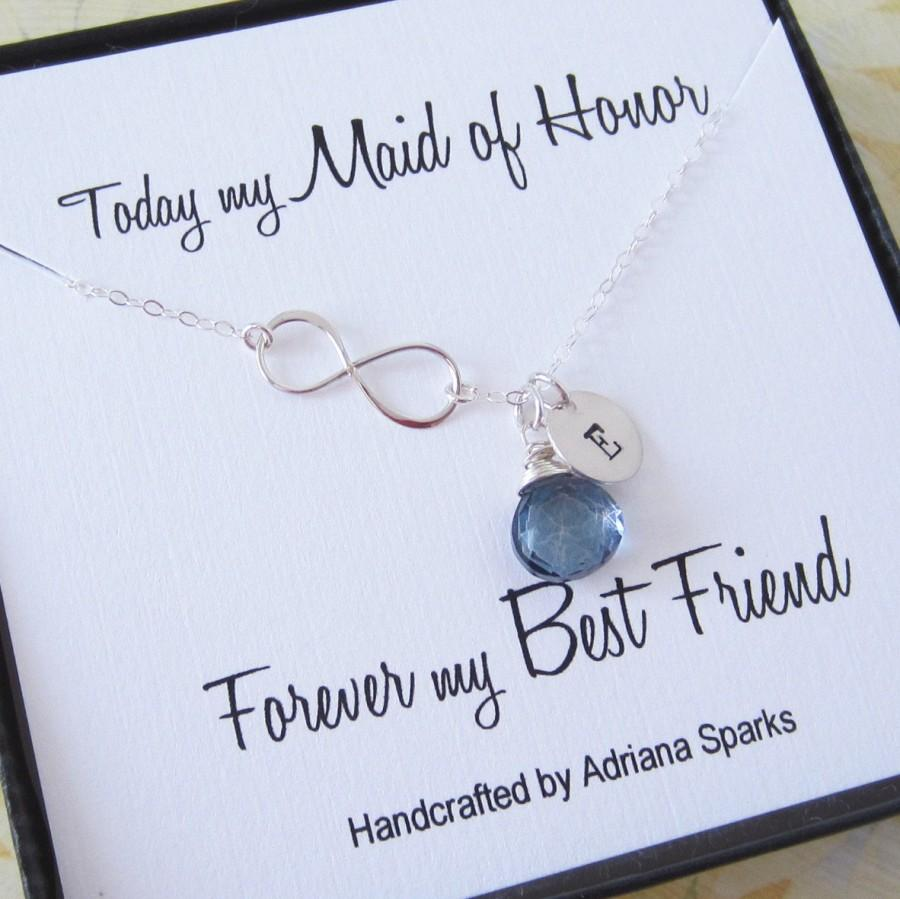 Maid Of Honor Infinity Silver Necklace, Birthstone