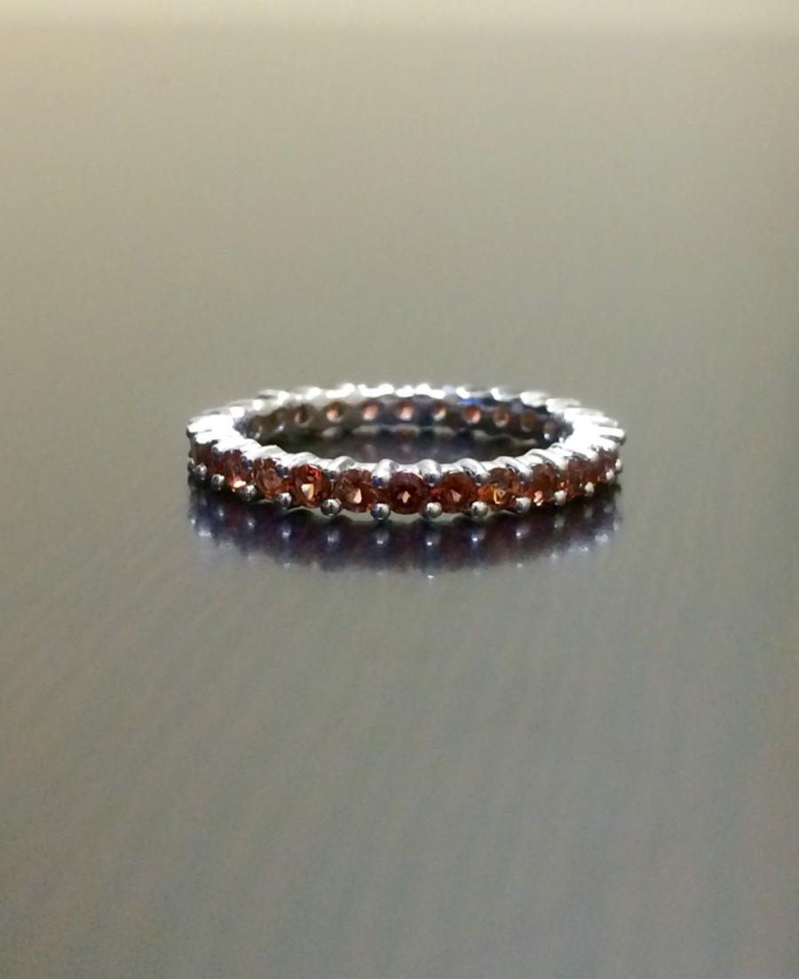 sterling silver eternity garnet engagement band garnet wedding band garnet band garnet ring eternity band garnet silver band