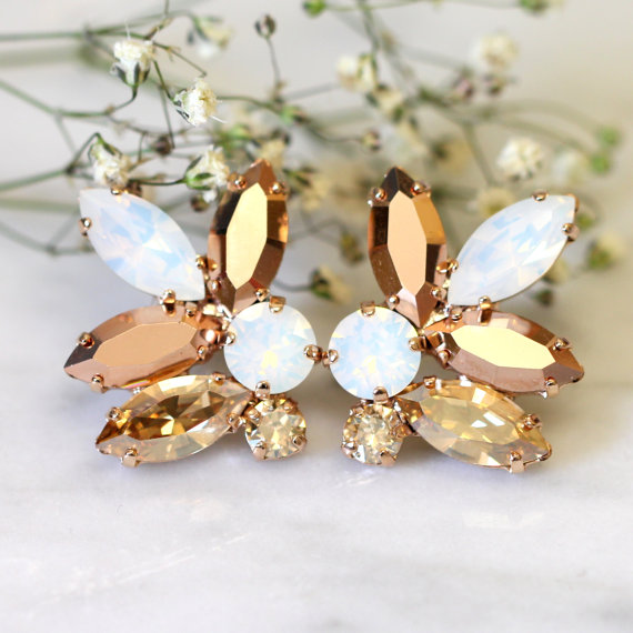 Mariage - Rose Gold Champagne Cluster Earrings,Swarovski Crystal Earrings,Bridal Rose Gold Earrings,Bridesmaids Earrings,White Opal Champagne Studs