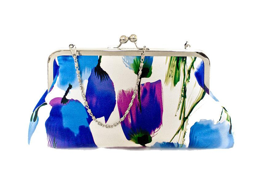 Mariage - Purse Clutch Large Tulips Floral Lilac Dupion Silk Spring Summer Blue Purple Bright Silver Chain