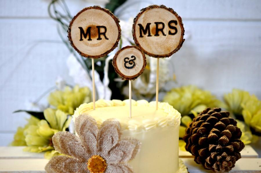 Rustic Wedding Cake Toppers 3pcs- Wedding Cake Decorations - Rustic ...