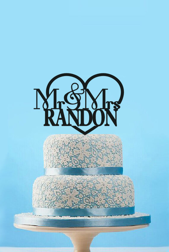 Mariage - Wedding Cake Topper, Mr & Mrs Wedding Cake Topper, Personalized Music Note Cake Topper, Fancy Laser Acrylic Cake Topper-4554