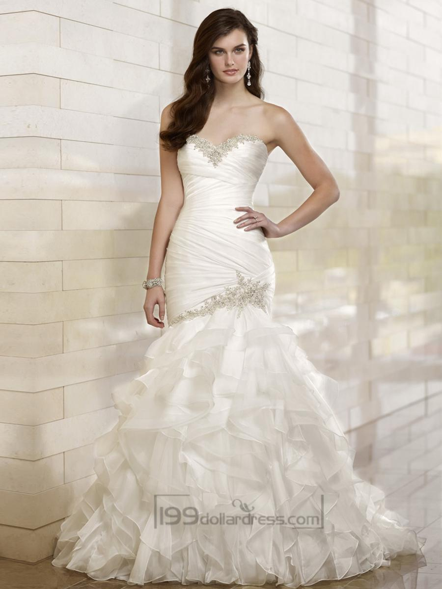 Trumpet Mermaid Beaded Sweetheart Dreaped Bodice Wedding Dresses With Layered Skirt 2460523