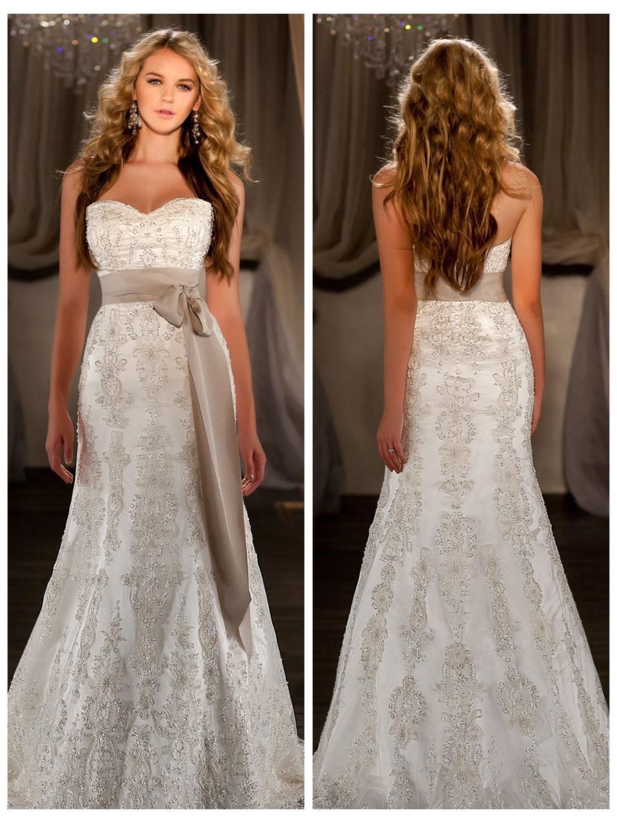 زفاف - A-line Sweetheart Embroidered Lace and Beading Throughout Wedding Dress