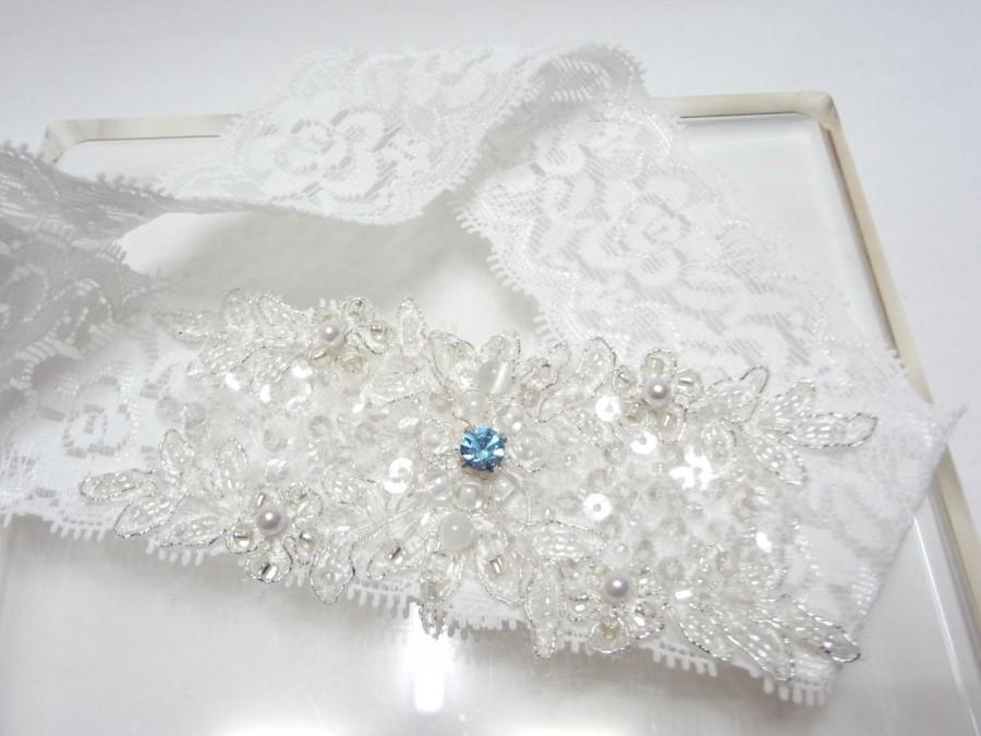 Hochzeit - White Lace Garter, Wedding bridal garter, white garter, lace garter, swarovski blue stone something blue