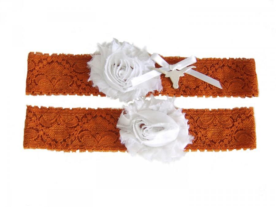Hochzeit - University of Texas Longhorns Stretch Lace Wedding Garter Set Burnt Orange and White