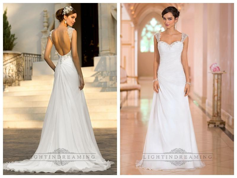 Wedding - Beaded Cap Sleeves Sweetheart A-line Simple Wedding Dresses with Low Open Back