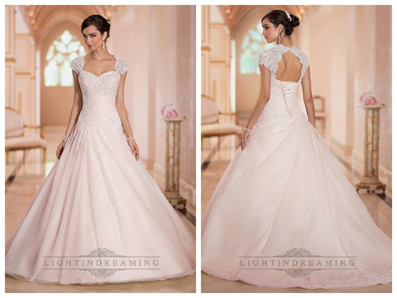 Cap sleeves sweetheart a line lace appliques keyhole back wedding