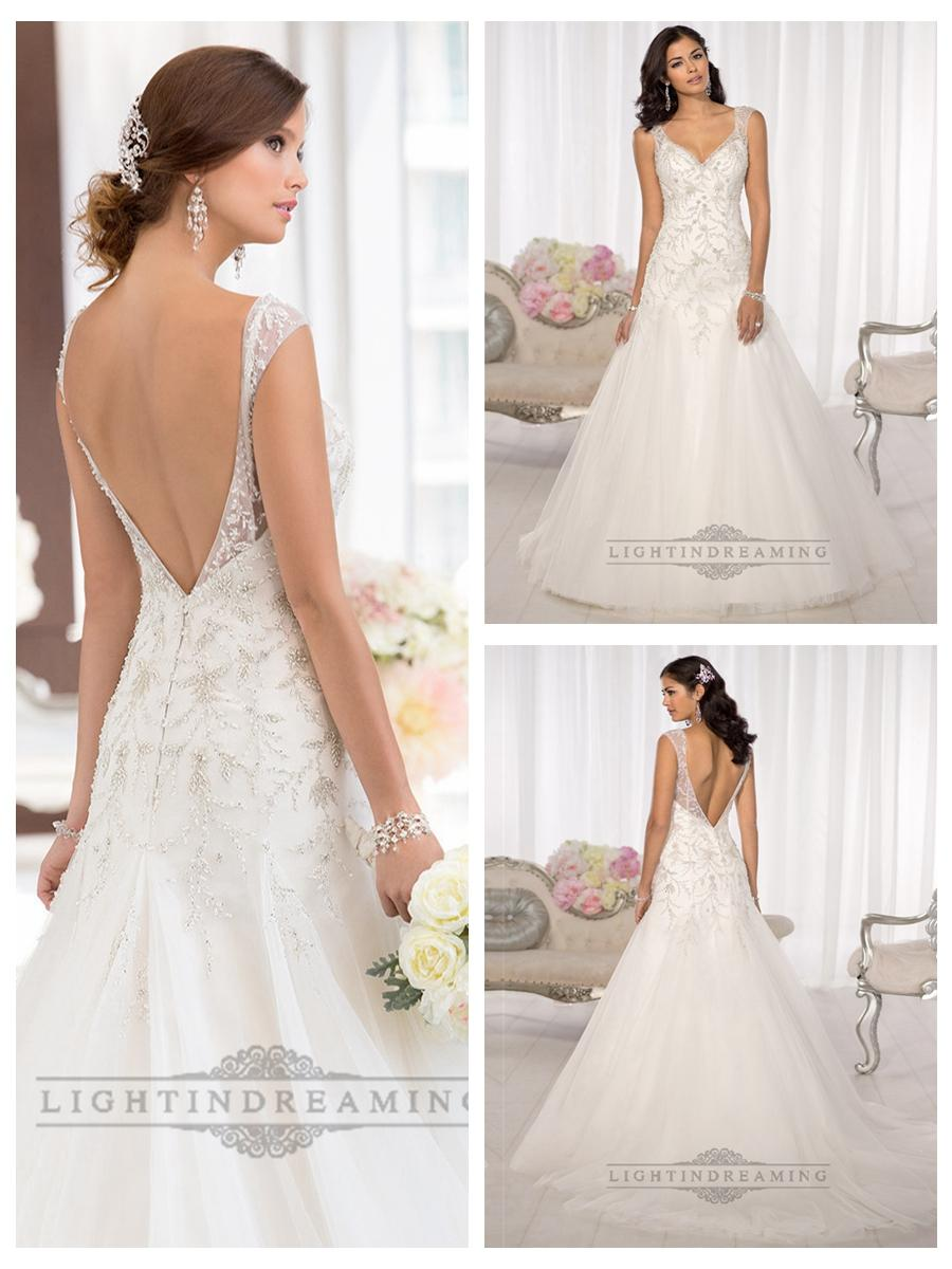 Elegant beaded cap sleeves sweetheart embellished wedding for V back wedding dress