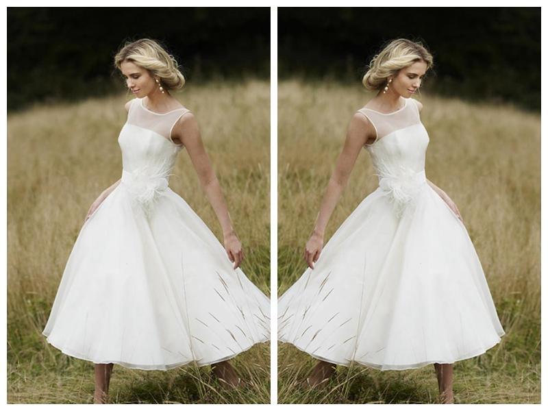 Düğün - Princess A-line Halter Scoop Beading Short Wedding Dress with Zipper Back