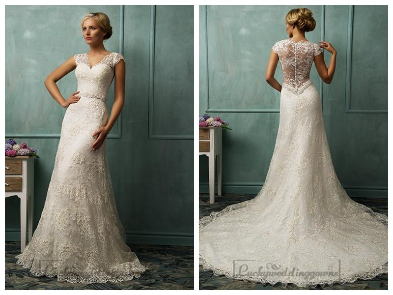 wedding cap sleeves v neckline lace wedding dresses