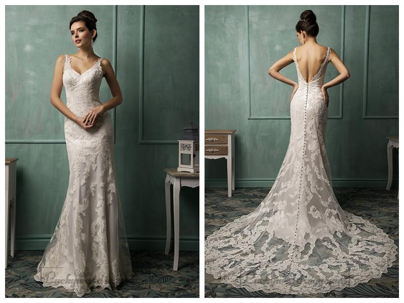 Straps v neckline lace low backless wedding dress 2460568 for Backless wedding dress bra