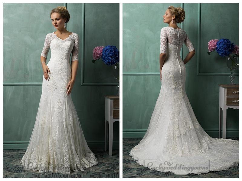 V Neckline Lace Wedding Dress 76