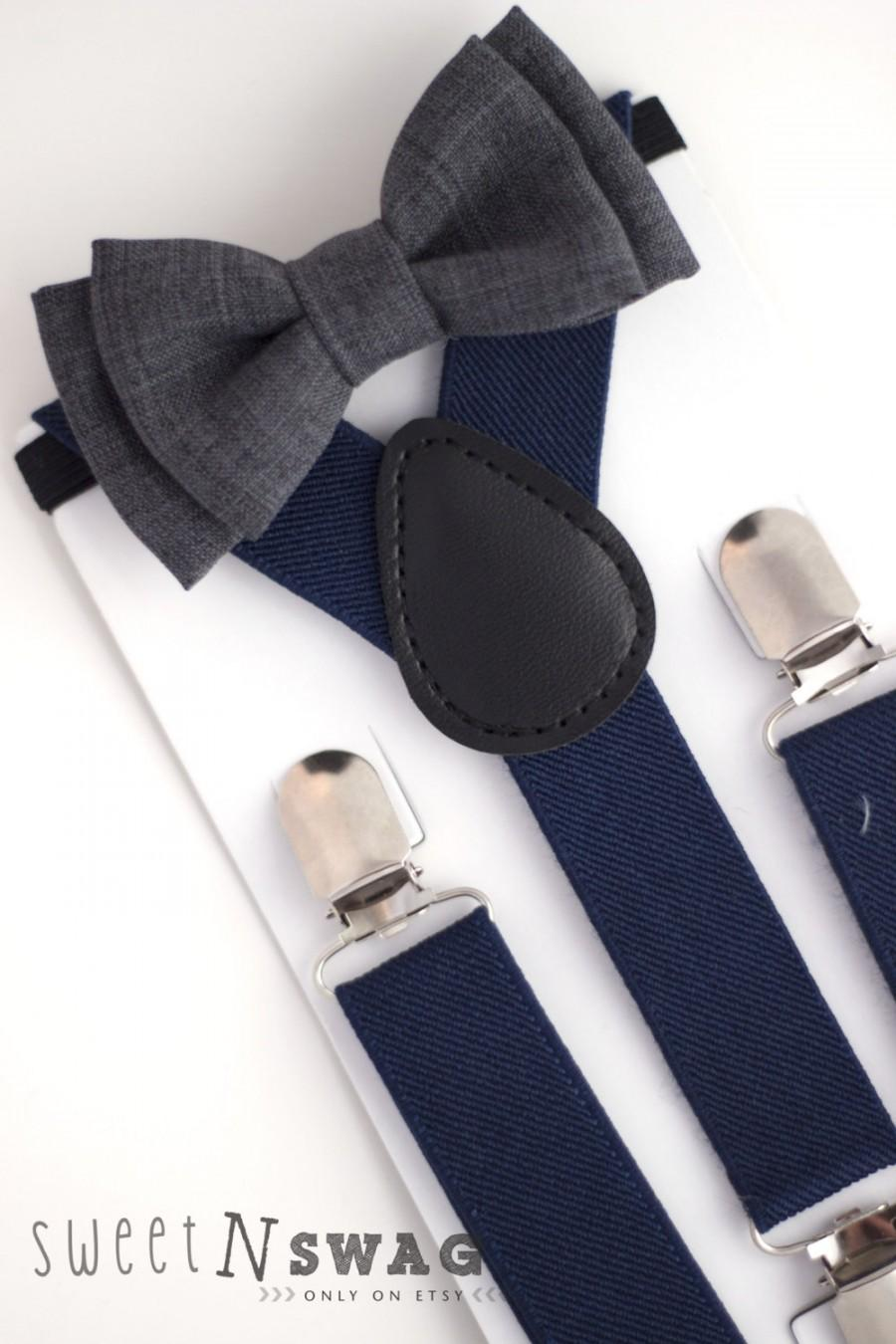 Свадьба - SUSPENDER & BOWTIE SET.  Newborn - Adult sizes. Navy Blue Suspenders. Dark grey bowtie.