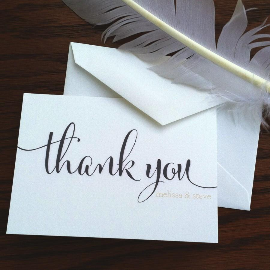 Wedding Thank You Notes Large Script Handmade Wedding Stationery – Wedding Stationery Thank You Cards
