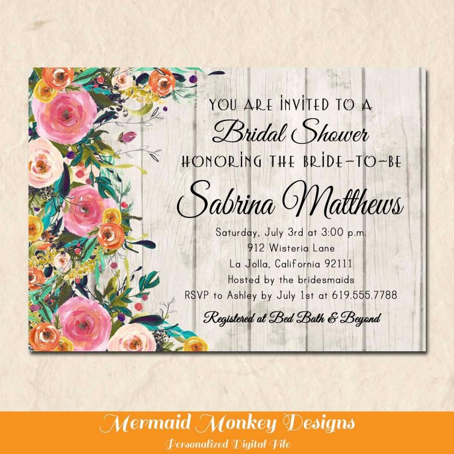 Mariage - Floral Bridal Shower Invitation, Rustic Shower Invitation, Floral Invitation, Wedding Shower, Printable, Engagement Party