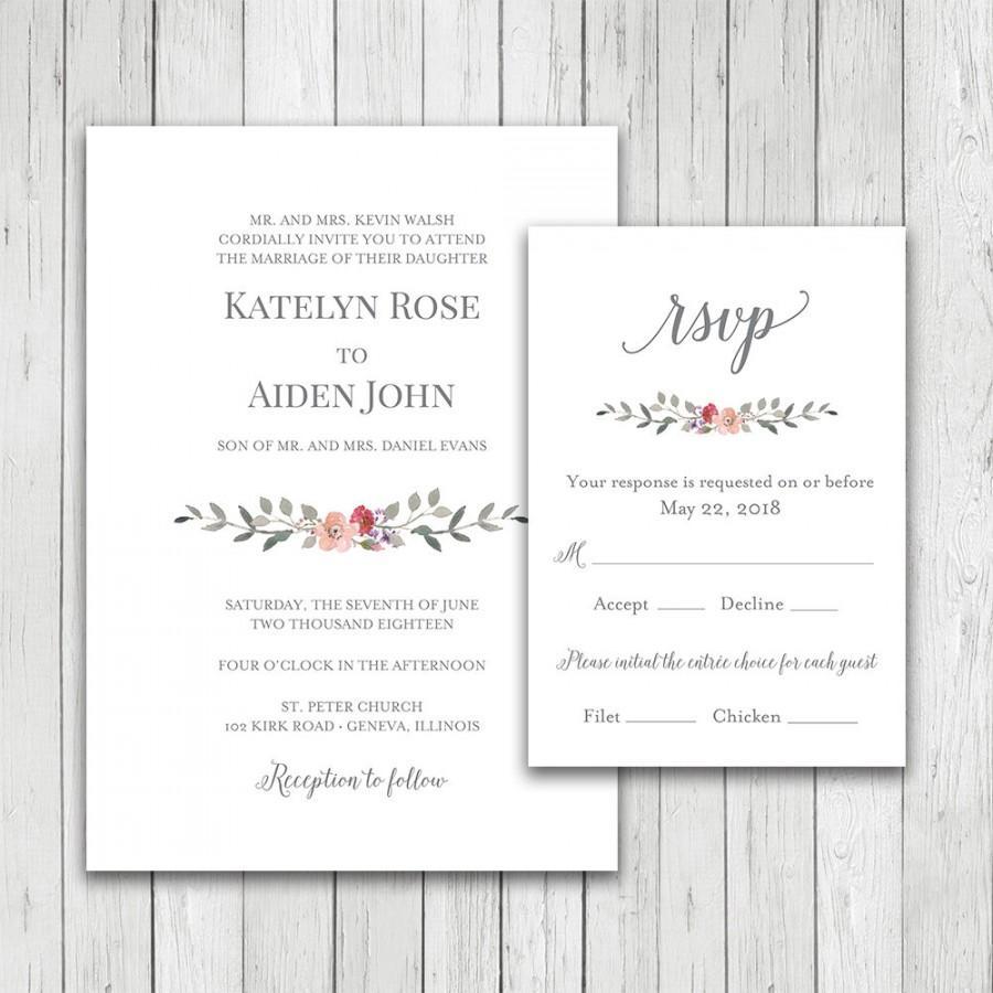 زفاف - Wedding Invitation, Watercolor Flowers