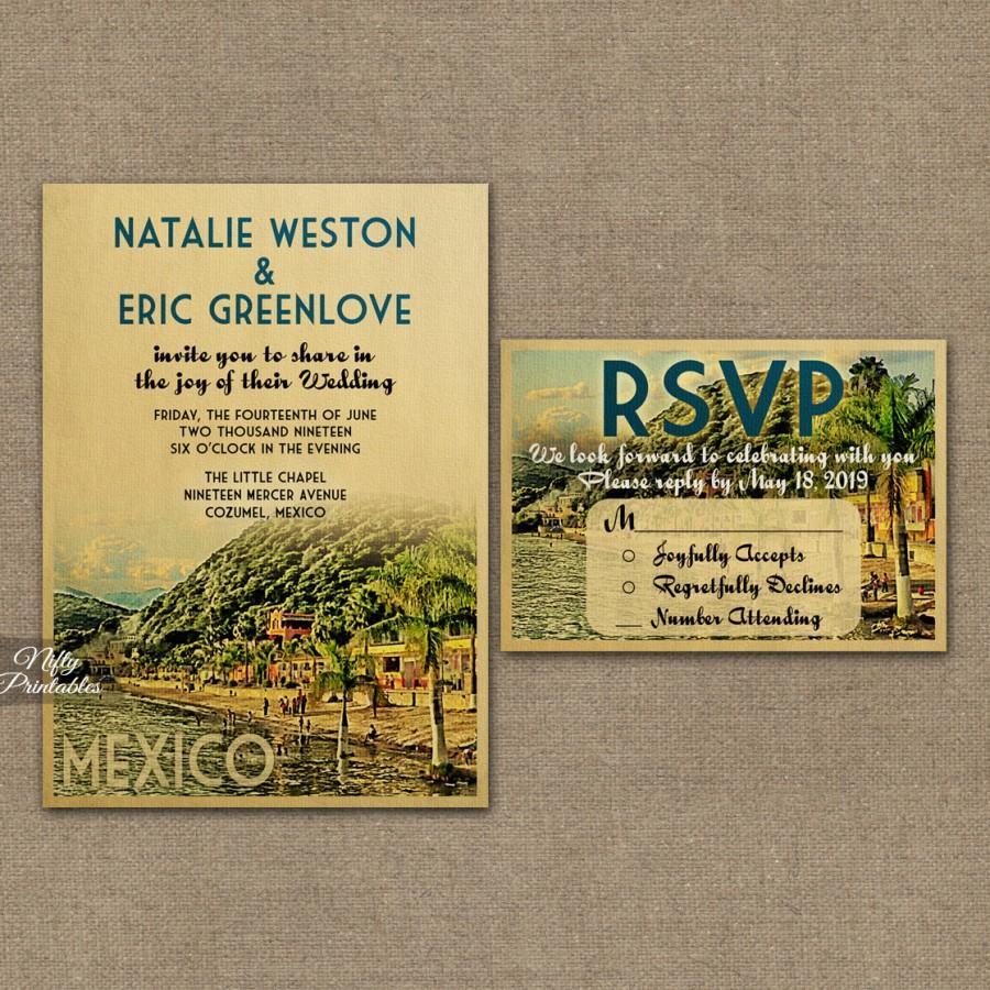 Mexico Wedding Invitation Printable Vintage Mexican Wedding