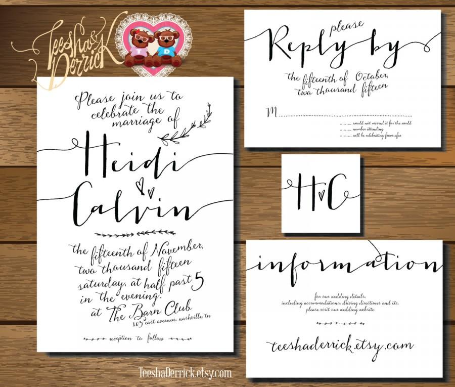 Printable Wedding Invitation Suite W0220 In Hand Lettered Consists Of RSVP Card Monogram And Info Designs