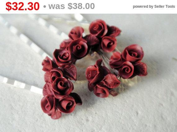 Mariage - SALE Bordeau hair pin red, set of 6 rose hair pin Wedding Bridal Hair Pin, burgundy flower pin, Bride Hair Accessories bridesmaid hair pin
