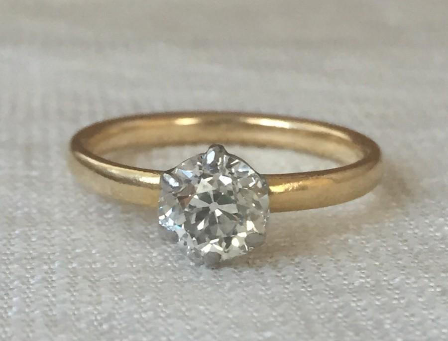 Hochzeit - Victorian Vintage Old Mine Cut Diamond .83 carat Engagement Ring