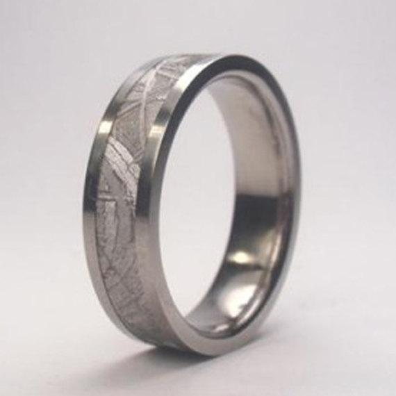 Mariage - Beautiful Meteorite Wedding Band, Palladium Ring