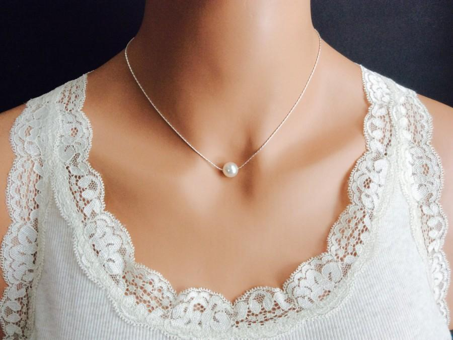 Hochzeit - Floating Pearl Necklace In Silver Chain With 10mm White Swarovski Crystal Pearl 18 Inches
