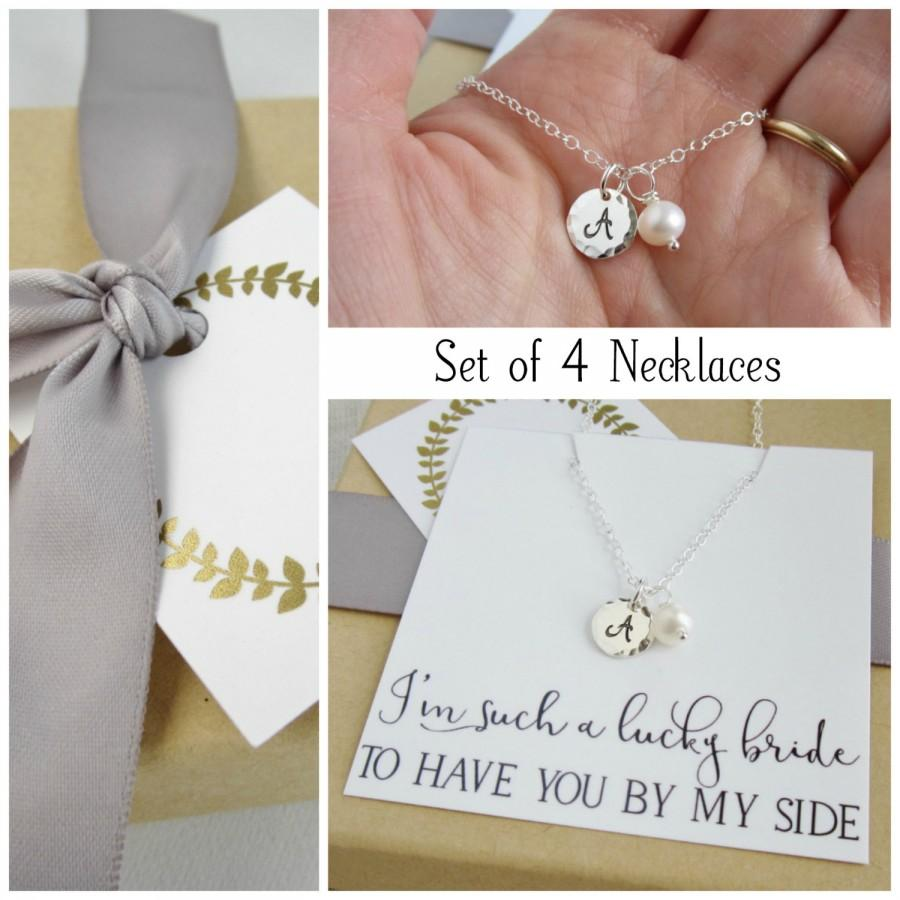 Wedding - Bridesmaid necklace Set of 4 FOUR Bridesmaid gift set, custom silver initial necklaces, freshwater pearl necklace, bridesmaid jewelry