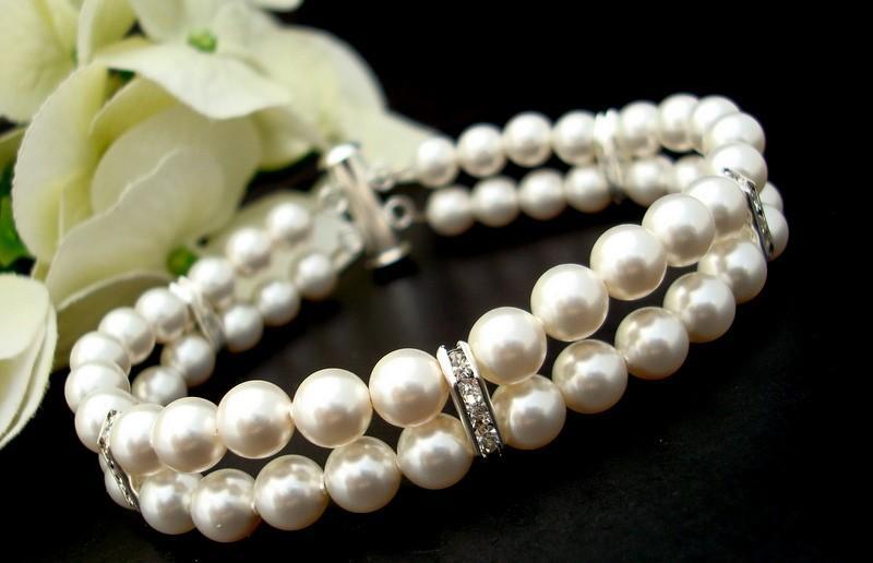 Mariage - Pearl Bridal Bracelet,White Ivory Swarovski Pearls,Rhinestones Bracelet,Classic Bracelet,Bridal Rhinestone Bracelet,Cuff Bracelet,FRANCESCA