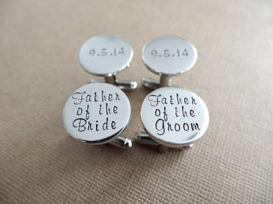 Wedding - 2 Sets of Cufflinks - Father of the Groom - Father of the Bride - Personalized Cufflinks - Wedding Jewelry