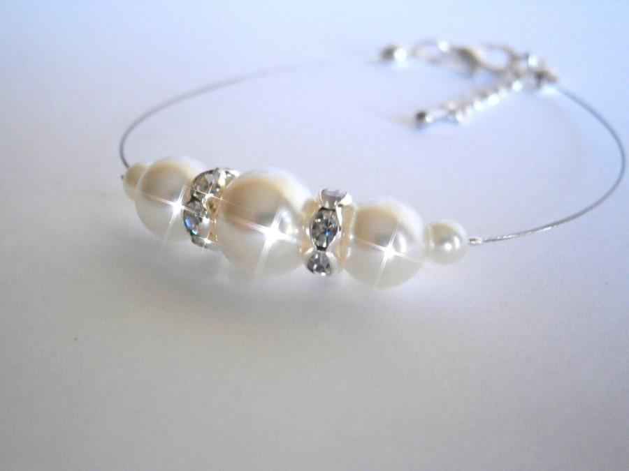 Mariage - Bridesmaid Bracelet , Bridesmaids Gift, White Ivory Glass Pearl Bracelet, Bridal Jewelry